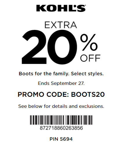 Kohl S Coupon Save 20 Off Boots Kohls Cash Coupons