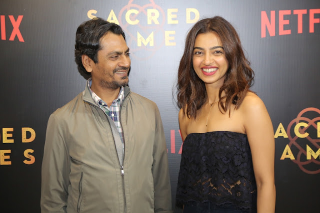 Netflix, Premiere, Sacred Games, Nawazuddin Siddiqui and Radhika Apte in Bangalore