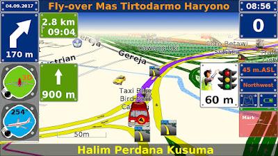 Ilustrasi navigasi pada GPS 7Ways dengan peta gratis dari navigasi.net.