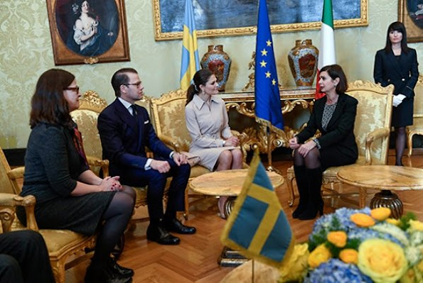 Crown Princess Victoria and Prince Daniel visited Roma, Italy, meet Laura Boldrini, wore Ralph Lauren dress