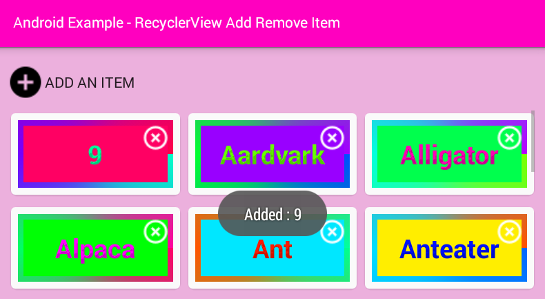 Android RecyclerView add remove item example