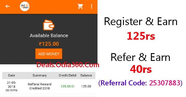 Salebhai Refer code 25307883- Joining 125rs, 40rs per refer