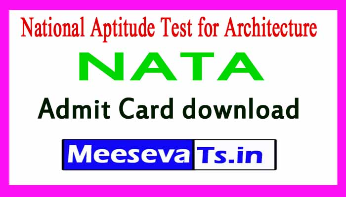 National Aptitude Test for Architecture NATA Admit Card download
