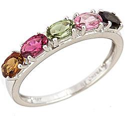 Nhẫn đá Tourmaline nhiều màu