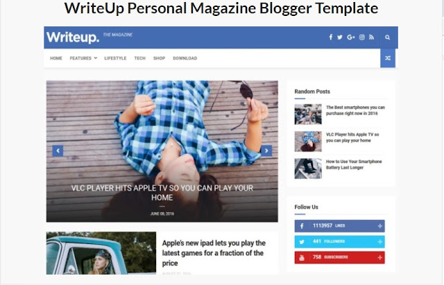 WriteUp Personal Magazine Blogger Template
