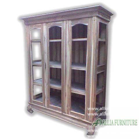 lemari buku kayu jati 3 pintu full kaca