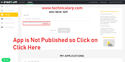 Click on Click Here  as App is not published so no URL for App -Technical Arp