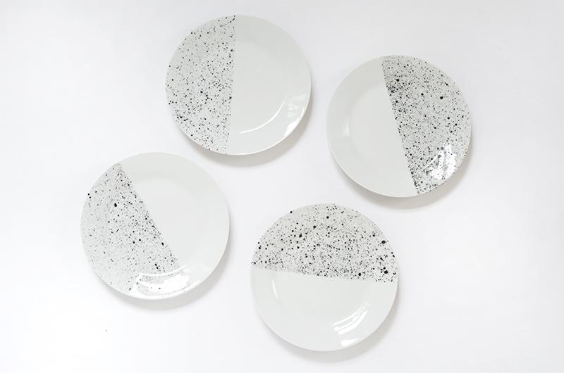 DIY speckled ceramic plate tutorial