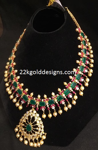 74grams Ruby Emerald Pearl Necklace