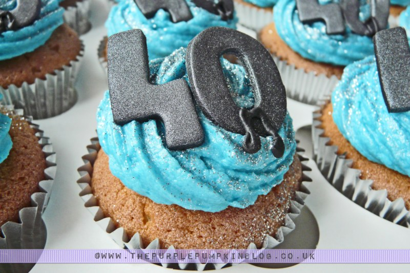 40th Birthday Cupcakes Blue with Musical Notes
