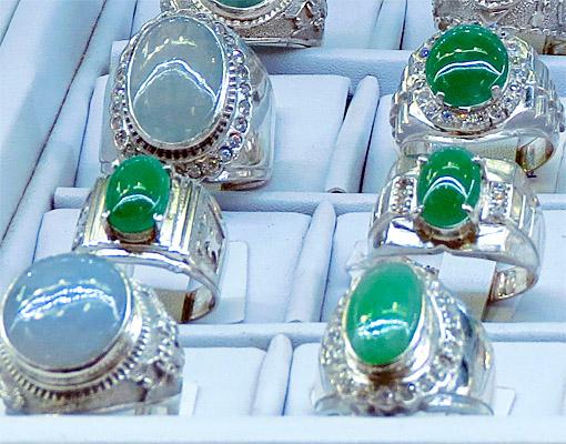 exquisite jadeite cabochon rings and diamonds