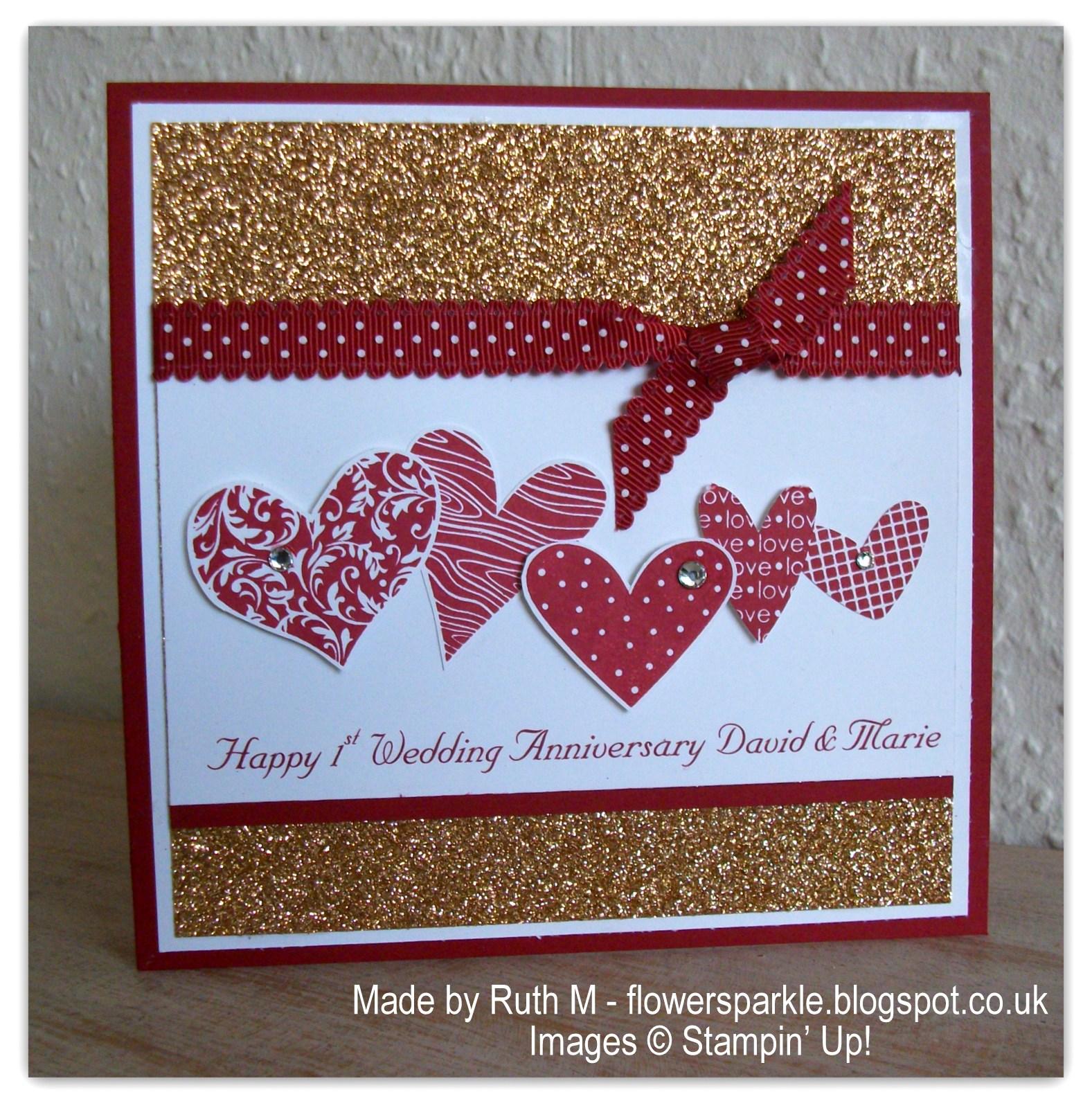 1st Anniversary Card Making Ideas Part - 17: Hearts 1st Wedding Anniversary Card