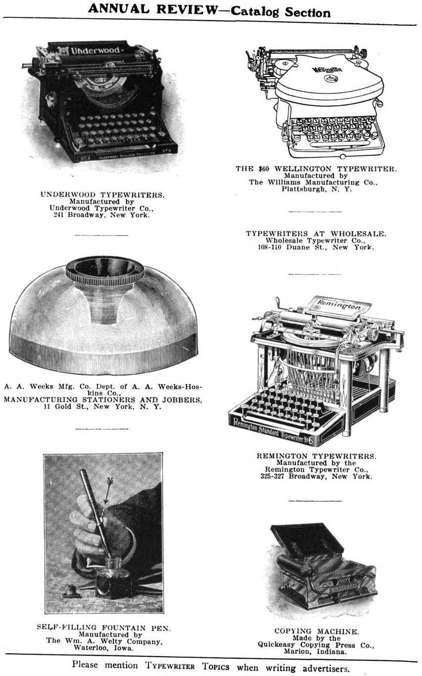 oz.Typewriter: Typewriter Catalog, 1907