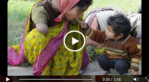 2 years old offering food to her handicapped mom ~ Hot Mamu