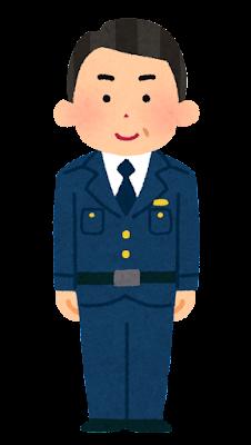 警察官のイラスト(男性・制帽なし・中年)