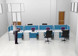 Meja Kubikel - Desking Table - Meja Sekat Kantor Bahan Kain Fabric - Furniture Semarang