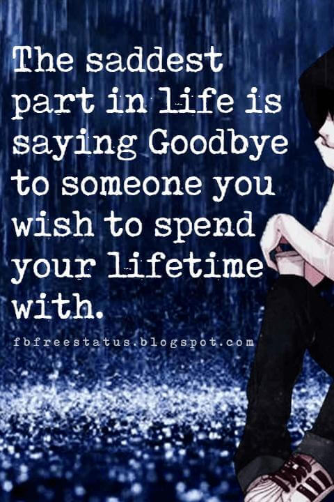 quotes about letting go of relationships, The saddest part in life is saying Goodbye to someone you wish to spend your lifetime with.