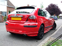 MG Rover 25 1.4 Rear Corner View Solar Red Modified ZR Bodykit Black Wheels