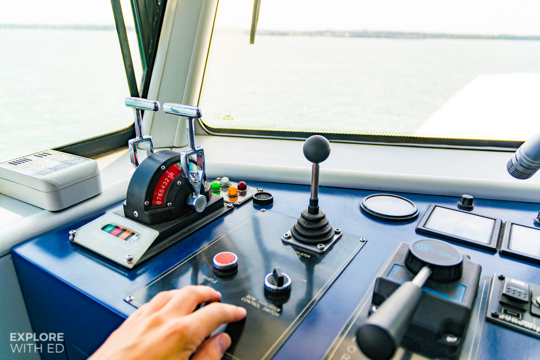 The bridge controls onboard Wightlink's Catamaran