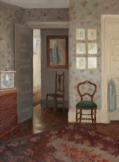 antique carpet, floral wallpaper, interior scene, genre painting