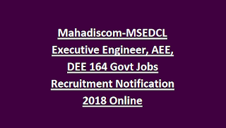 Mahadiscom-MSEDCL Executive Engineer, AEE, DEE 164 Govt Jobs Recruitment Notification 2018 Online