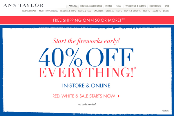 Ann Taylor + LOFT 40% Off Total Purchase & Abercrombie & Fitch 50% off Redlines Sale