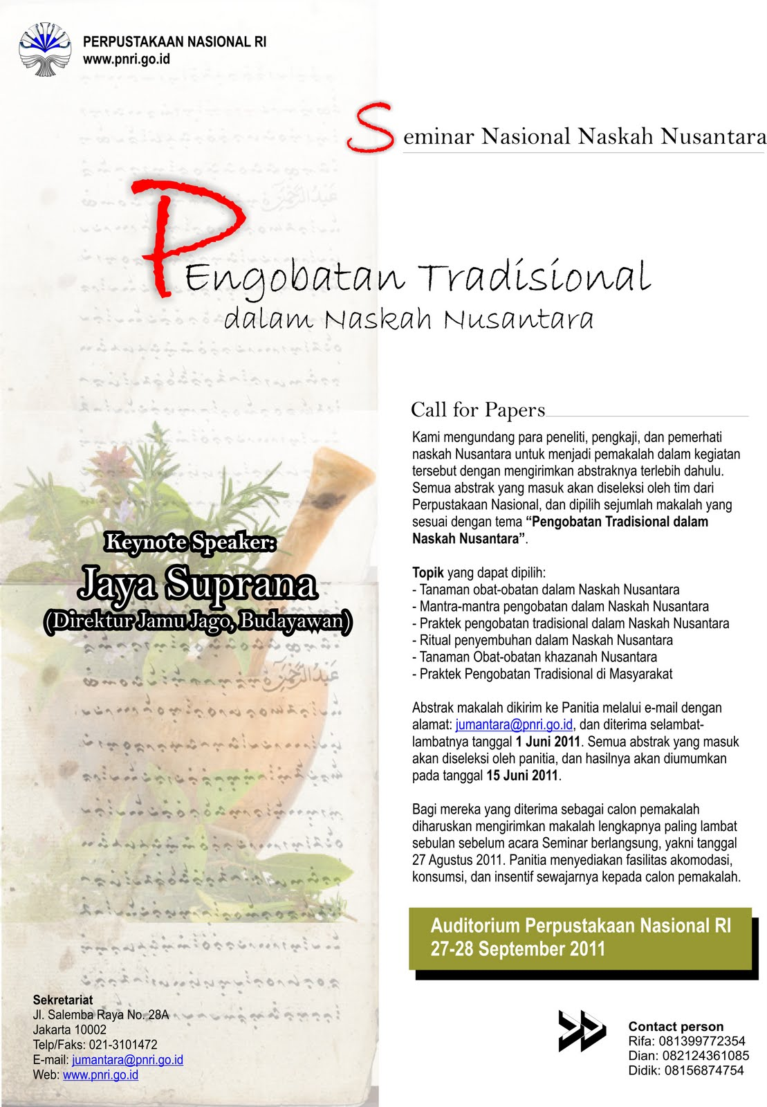 Pengobatan Tradisional Dalam Naskah Nusantara Call For Papers