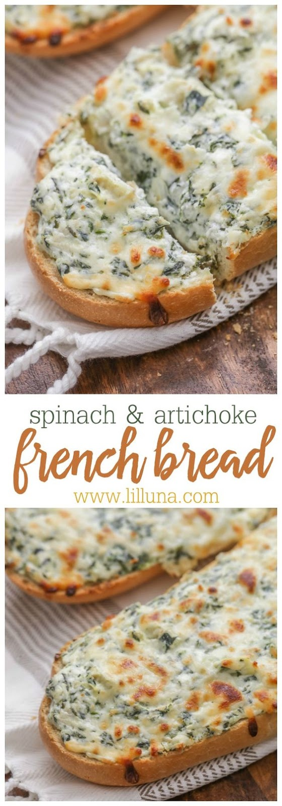 CHEESY SPINACH ARTICHOKE FRENCH BREAD #cheese #spinach #artichoke #frenchfood #bread #frenchbread #lunchideas #lunchrecipes