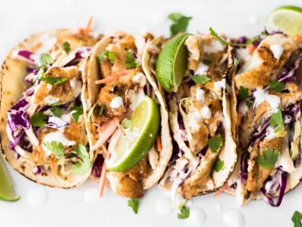 Fish Tacos Sriracha Aioli Slaw