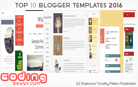 Top 10 Free HTML Blogger Blogspot Templates 2016