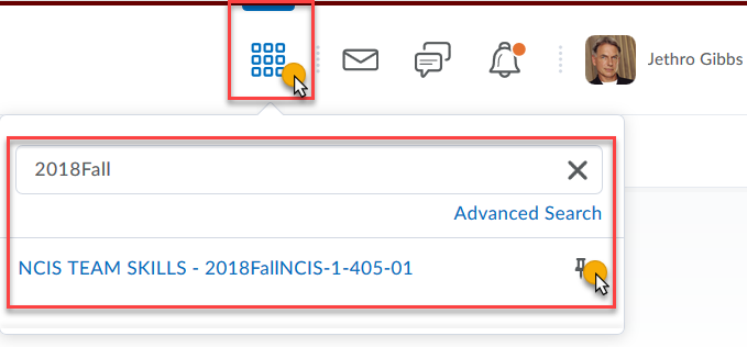 click the grid icon or search for 2018Fall courses in BOLT