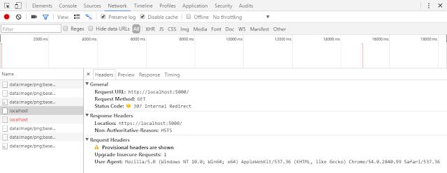 Ferramenta de monitoração de rede do Chrome mostrando requisição 307 mandando o browser ir para url com https