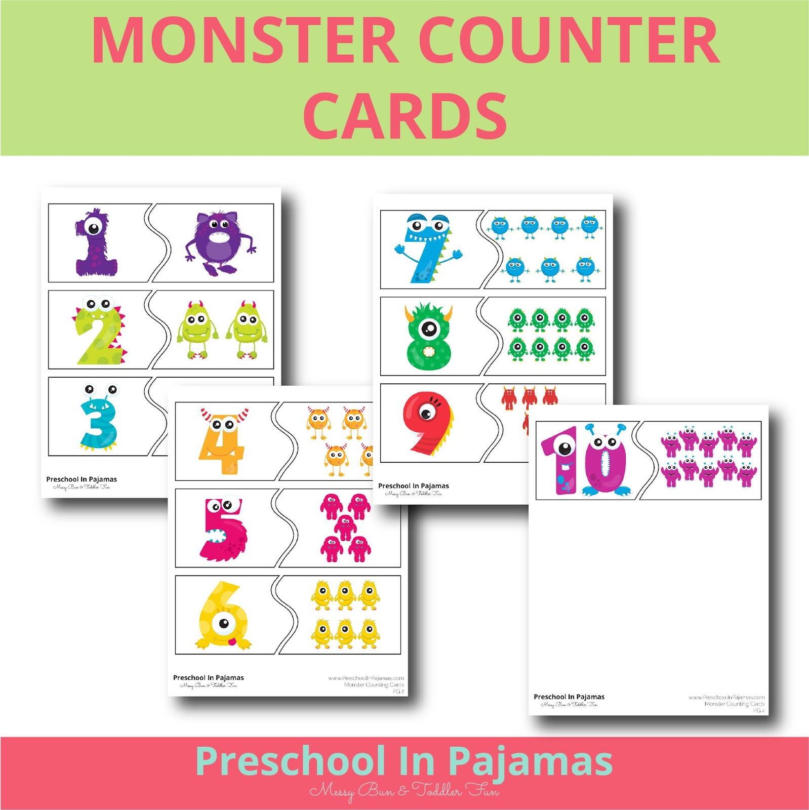 Free Monster Counter Cards Printable