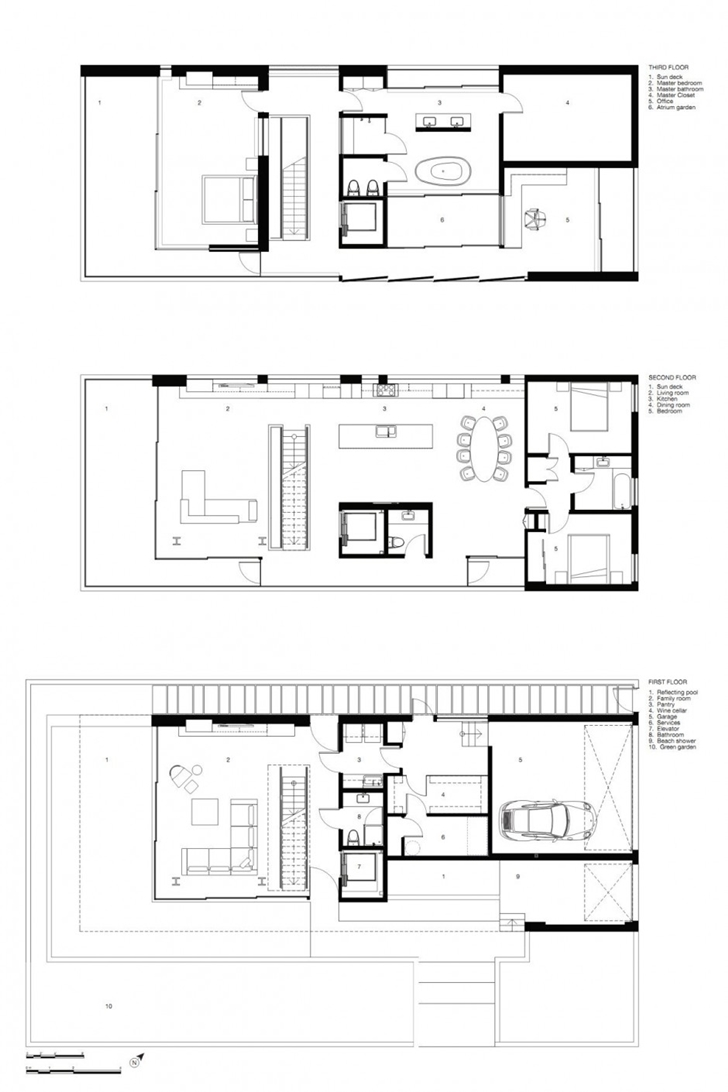 Floor plans of Modern mansion on the beach by Dan Brunn