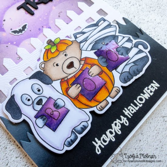 Trick or Treat Slimline Card by Zsofia Molnar | Halloween Trio Stamp Set, Fence Die Set, Land Borders Die Set and Clouds Stencil by Newton's Nook Designs #newtonsnook #handmade