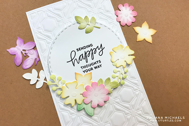 Happy Thoughts Card by Juliana Michaels featuring Spellbinders Four Seasons Wreath Element Dies Tutorial