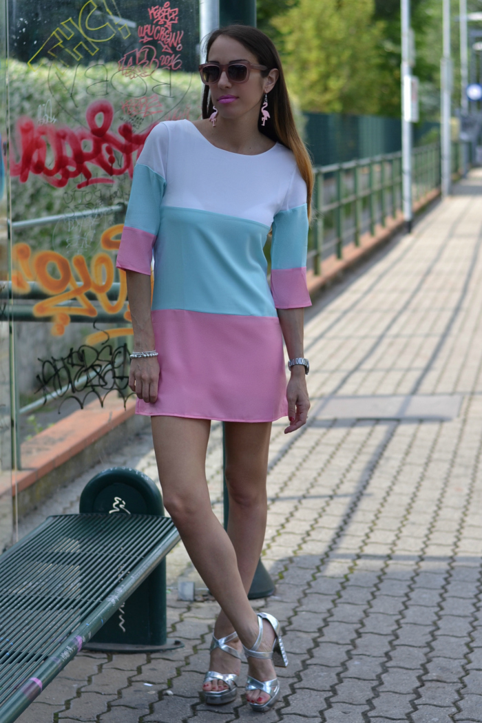 pink blue outfit