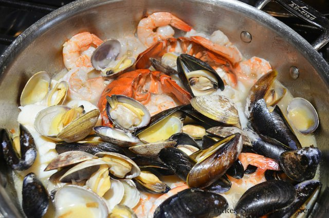 Seafood Risottos recipe with clams, shrimp, lobster, mussels from Serena Bakes Simply From Scratch.