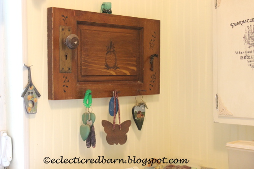 Eclectic Red Barn: Old door panel converted into key hanger