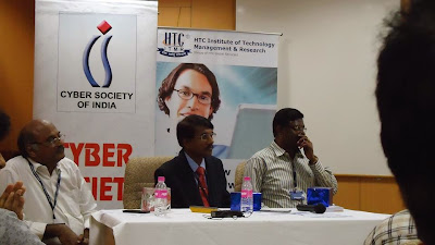 Prime Point Srinivasan, Gunasekaran and S Balu (speakers at the programme organised by Cyber Society of India CySI on social media networking sites)