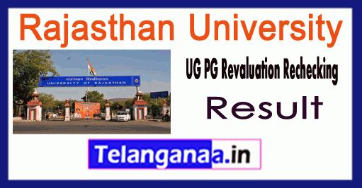 Rajasthan University UG PG Revaluation Result 2018 B.Com B.Sc BA M.Com M.Sc MA