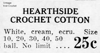 Hearthside Crochet Cotton Advertisement, 1945