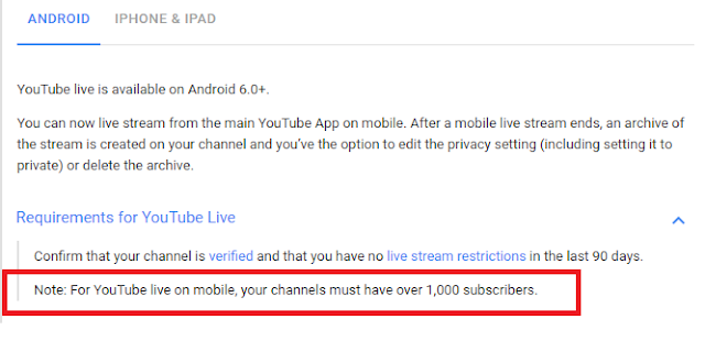 YouTube got the New terms for Mobile Live Streaming: Dropped 10k to 1k Subscribers Requirement