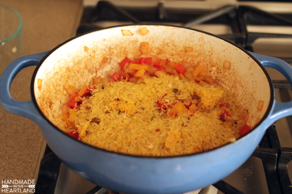 cooking arroz con pollo