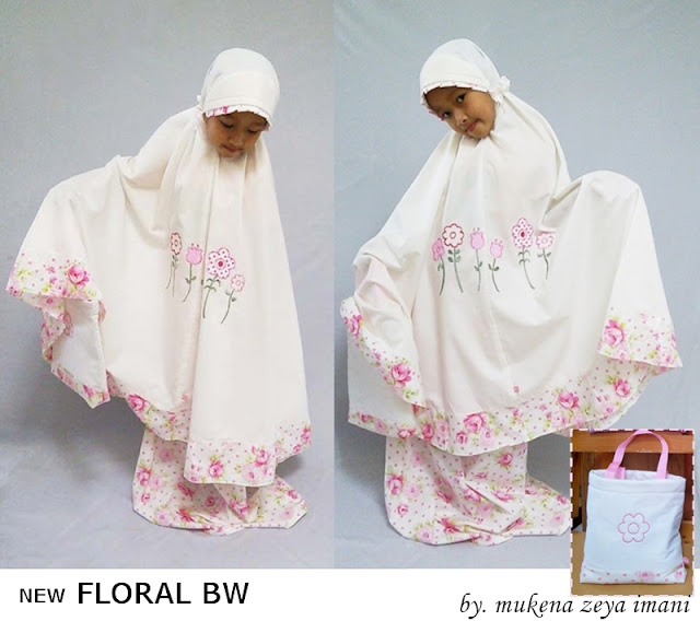 mukena anak dan balita motif bunga-bunga putih