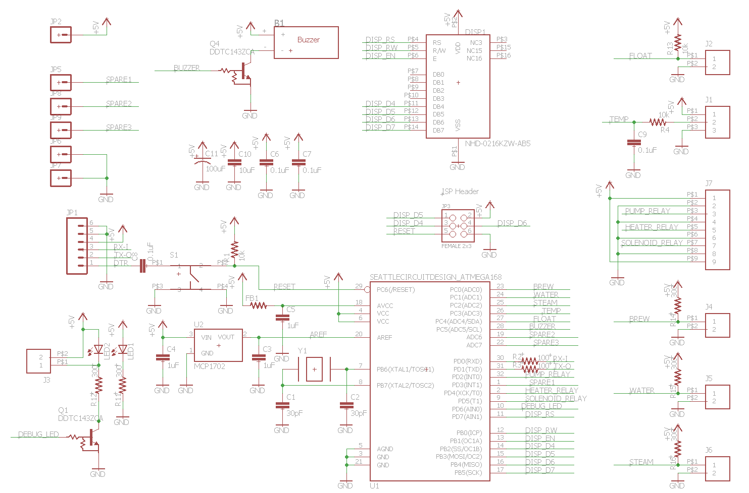 Here is the schematic for the main board as with the saeco project it was based around an atmel atmega328 mcu that was programmed with the arduino