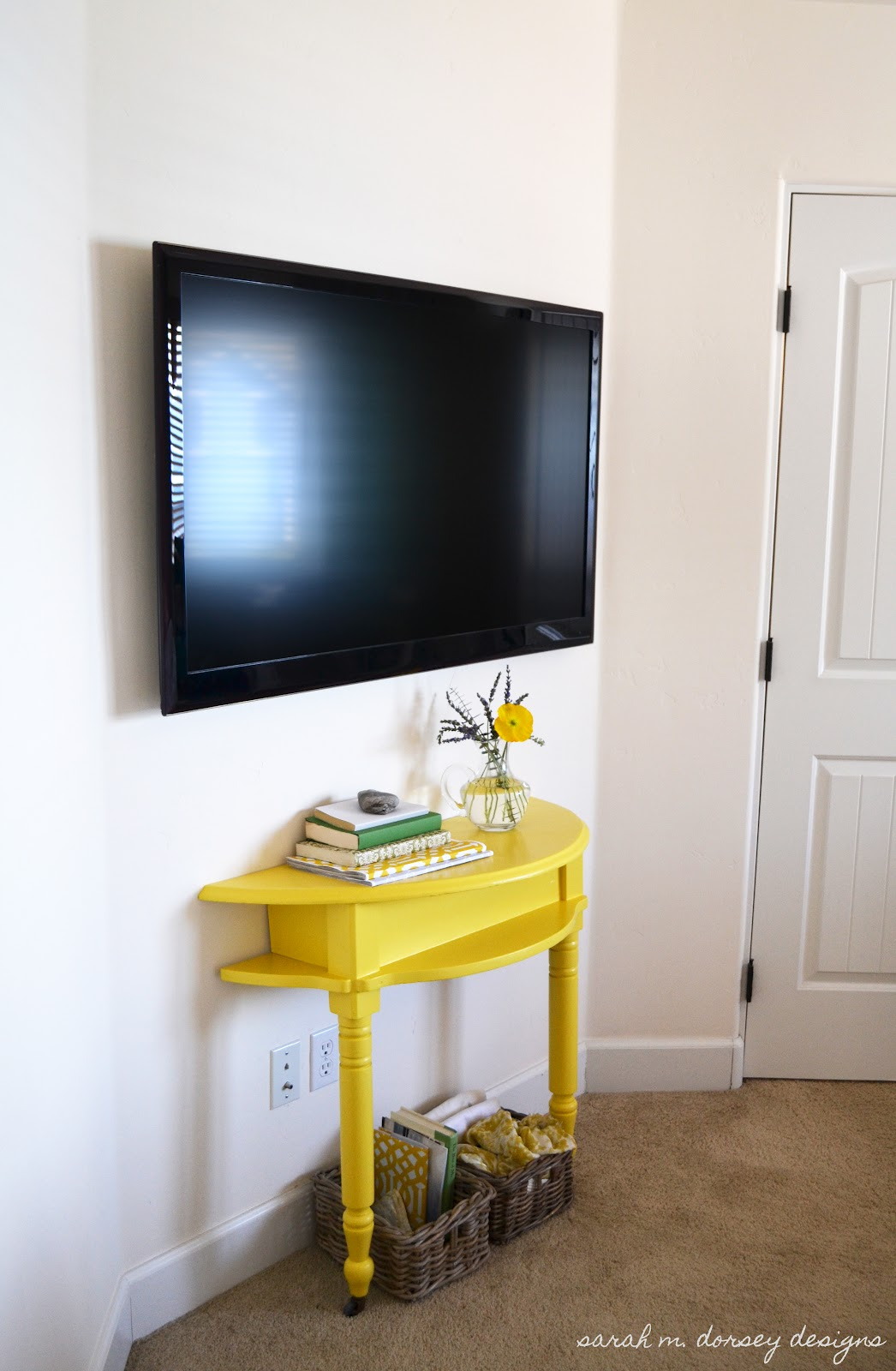 Sarah M Dorsey Designs Yellow Console Table For Master