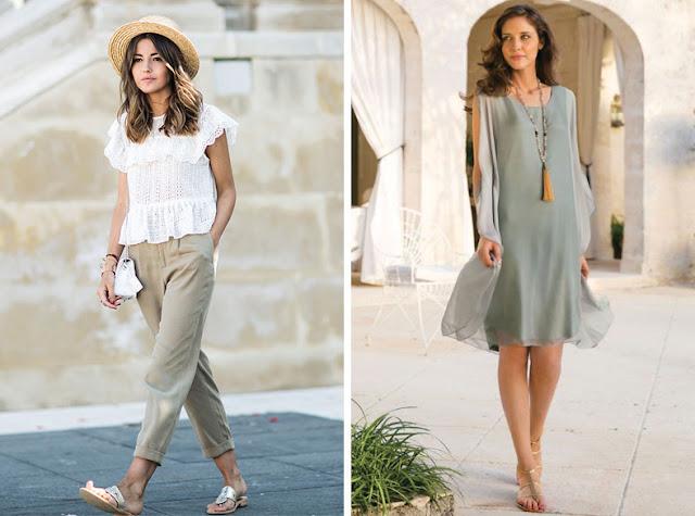 Девушки в платьях и брюках с металлизированными минималистскими сандалиями