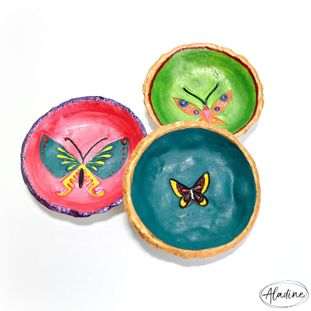 Trio of Butterfly Stamped Air Dry Clay Trinket Dishes Painted with Aladine Izink Pigment Ink