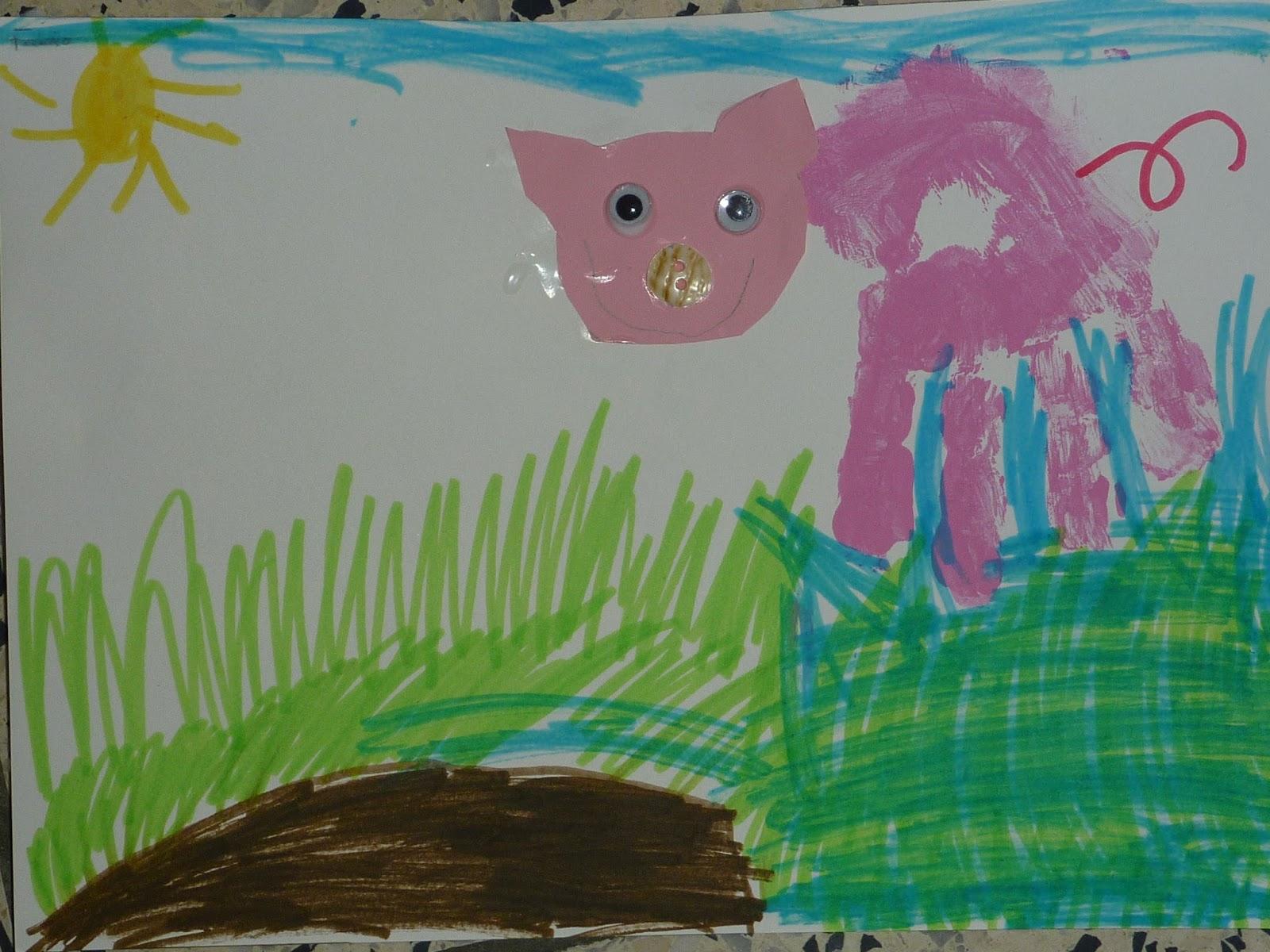 Märlimuus: 3 Schweinchen - Handabdruck - Papierkügelchen - genäht